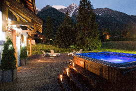 Chalet La Moraine - dusk view from hot tub up to Mont Blanc.jpg